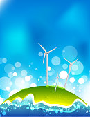Energy saving concept. Windmills.