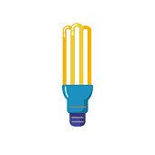Energy saving fluorescent light bulb flat icon