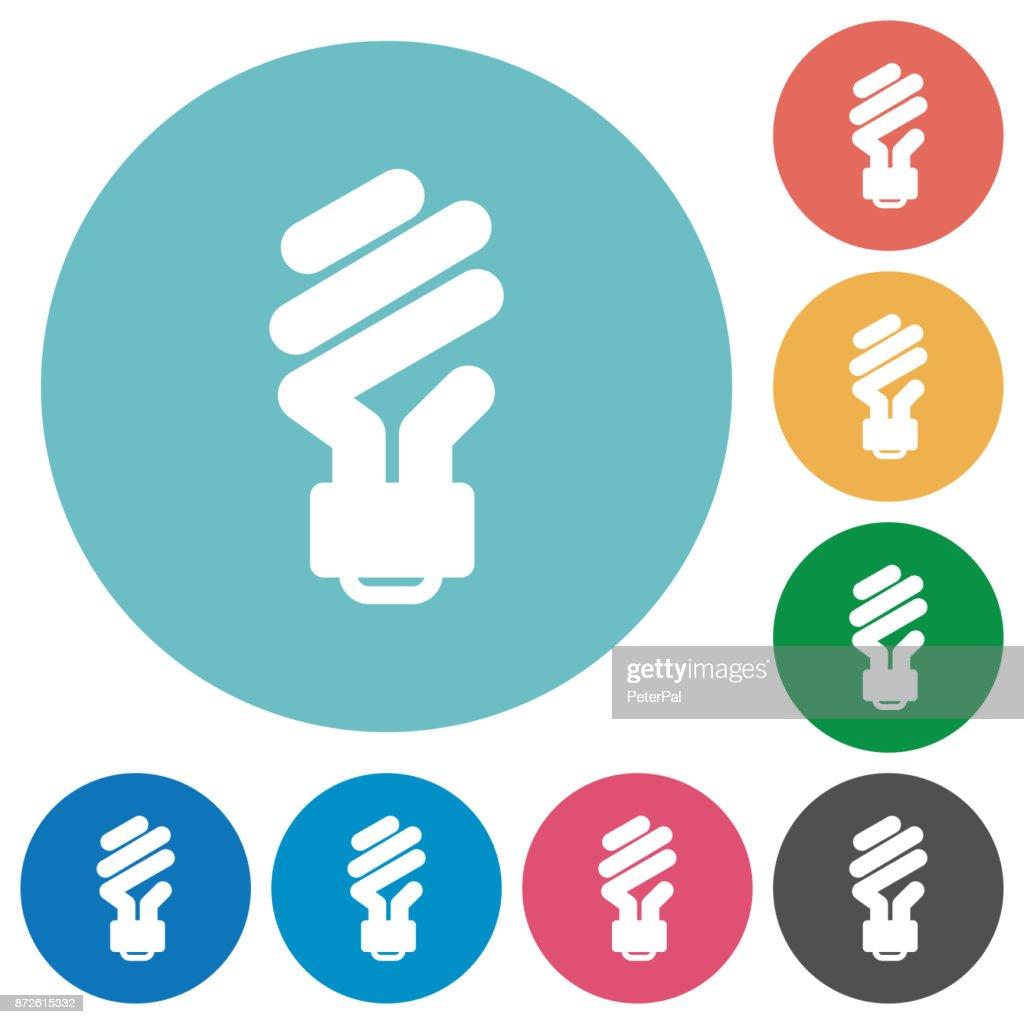 Energy saving fluorescent light bulb flat round icons