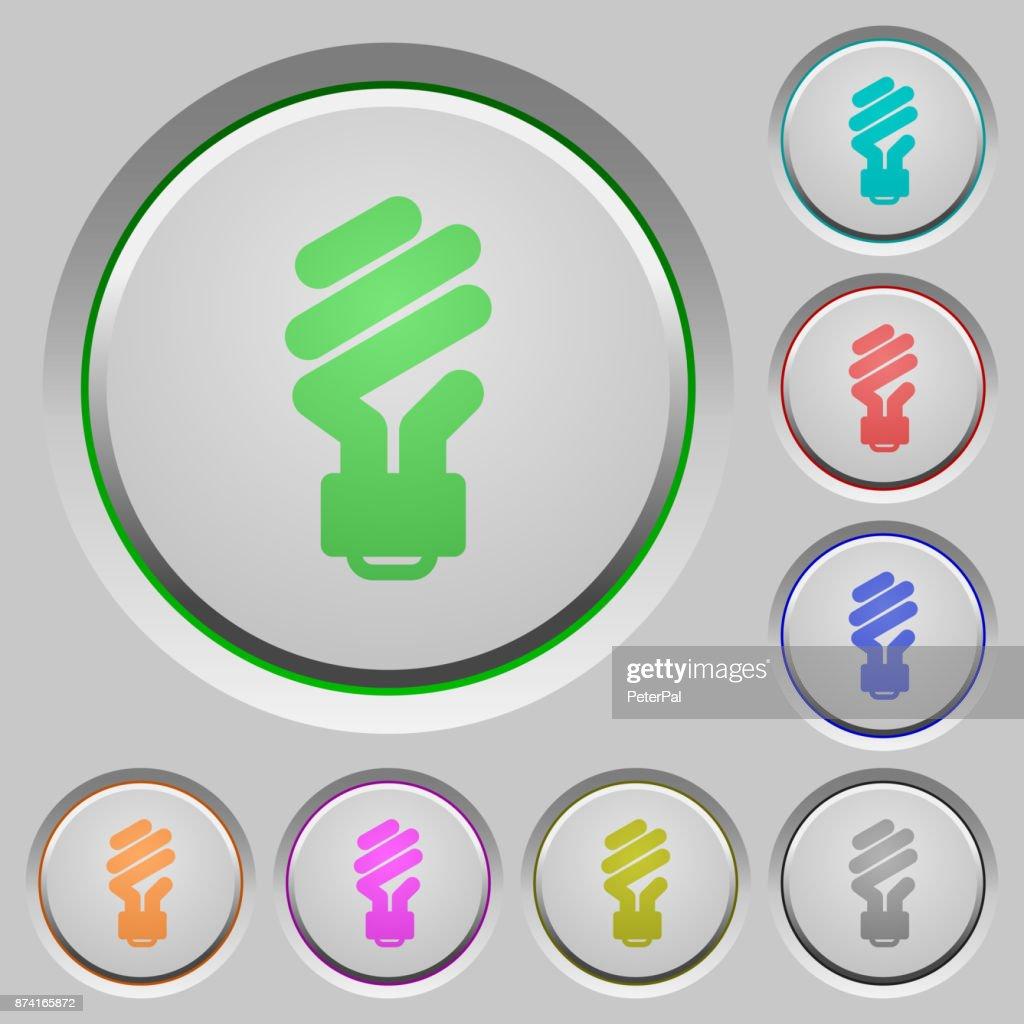 Energy saving fluorescent light bulb push buttons