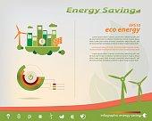 Energy saving infographic collection