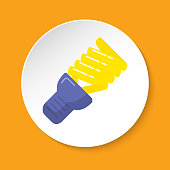 Energy saving light bulb icon in flat style on round button