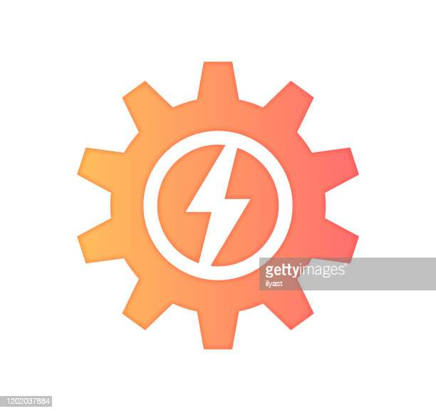 energy security gradient fill color & paper-cut style icon design - kilowatt stock illustrations