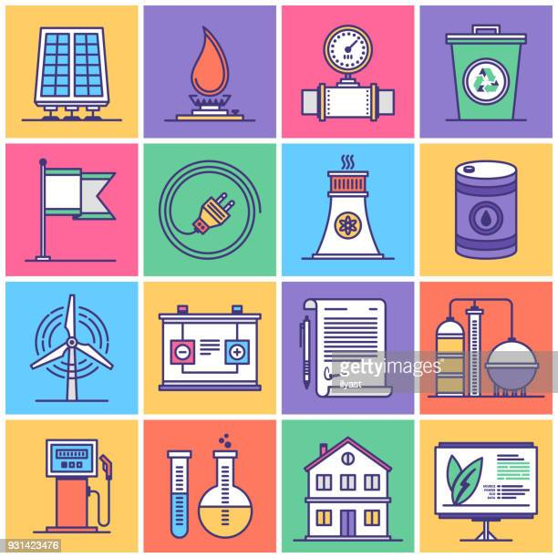 energy sources and electricity icon set - fuel station stock illustrations, clip art, cartoons, & icons