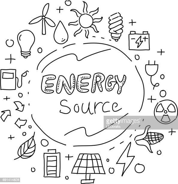 energiequellen-konzept-zeichnung - federzeichnung stock-grafiken, -clipart, -cartoons und -symbole