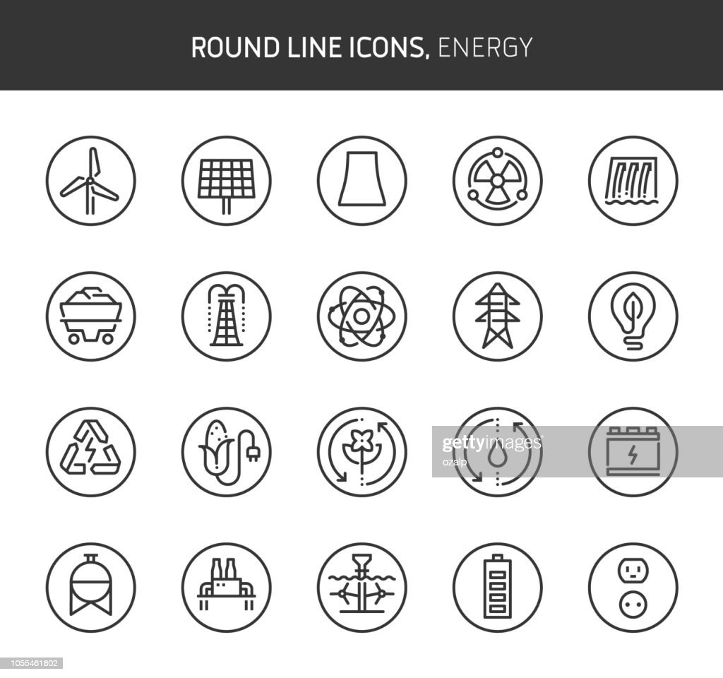 Energy theme, round line icons