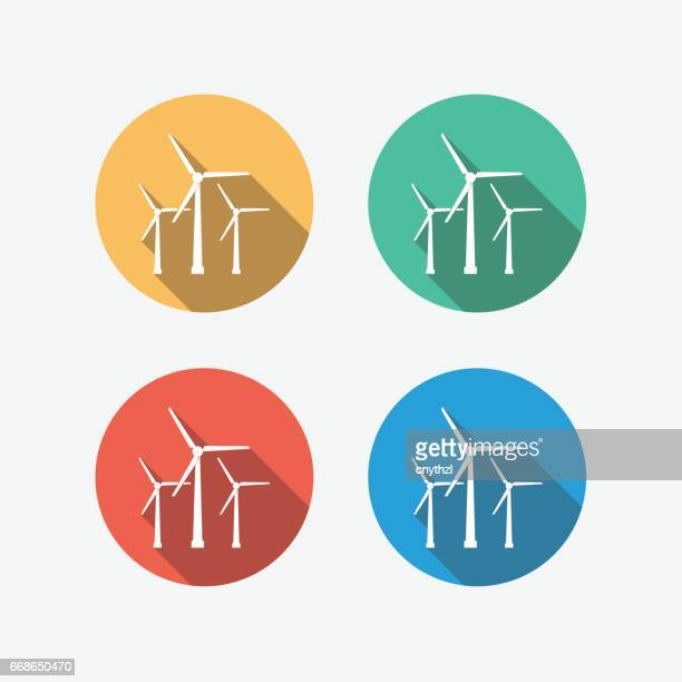Energy Wind Tirbune Multi Colored Circle Flat Icon