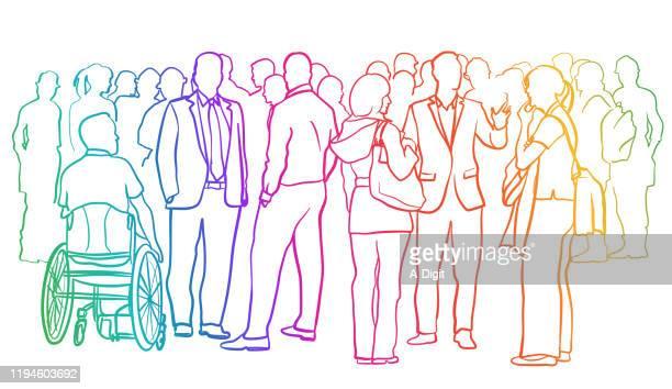 illustrazioni stock, clip art, cartoni animati e icone di tendenza di individui fidanzati arcobaleno - grande gruppo di persone