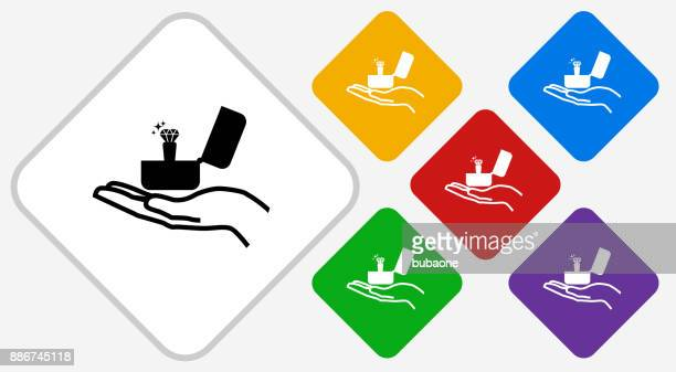 Anillo de compromiso diamantes de Color Vector icono