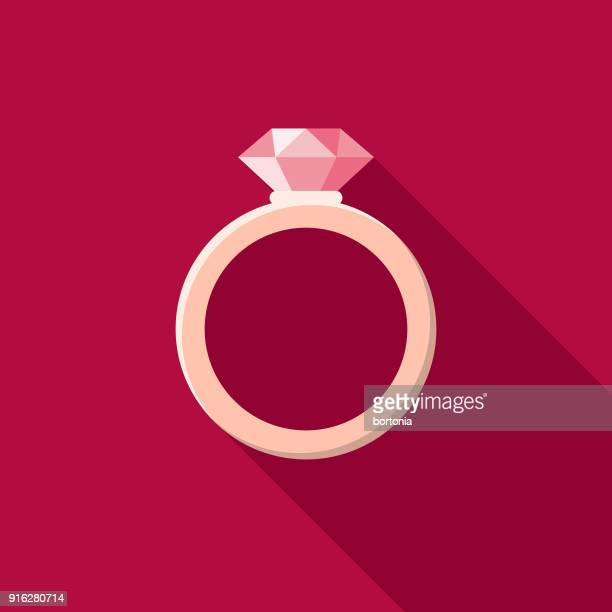 ilustraciones, imágenes clip art, dibujos animados e iconos de stock de anillo de compromiso plana diseño de san valentín icono romance - anillo de compromiso