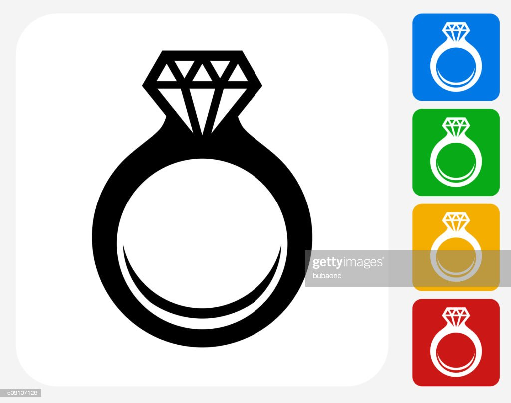 Engagement Ring Icon Flat Graphic Design