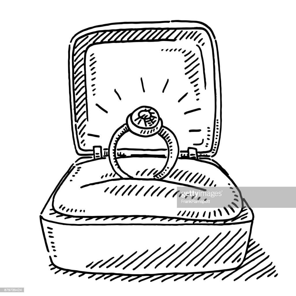 engagement ring in open box drawing vector art getty images