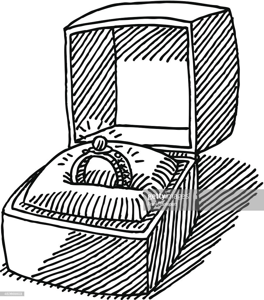 Engagement Ring Jewelry Box Drawing