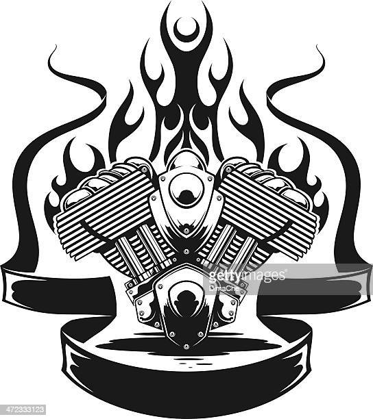 engine in fire with banner - motorcycle rider stock illustrations, clip art, cartoons, & icons