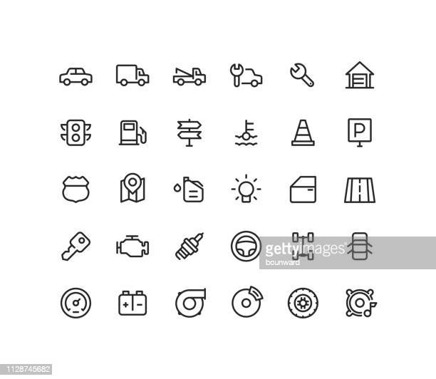 engine & road outline line icons - road signal stock illustrations