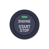 Engine starting and stopping system. Engine start. The person presses the finger on the start and stop button of car motor