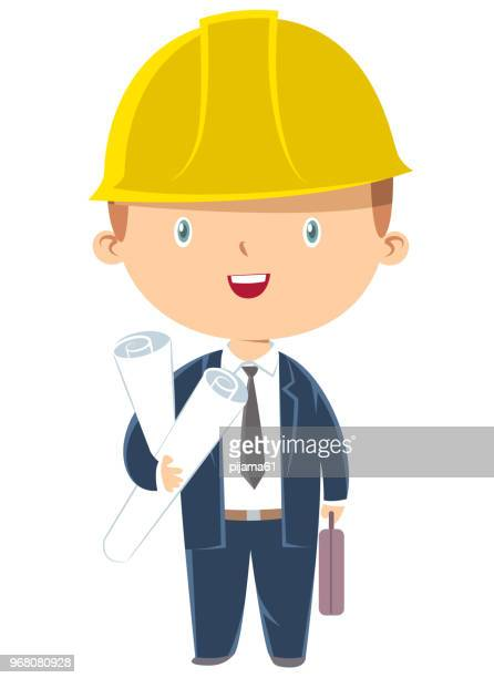 engineer boy holding paper plans - engineer stock illustrations