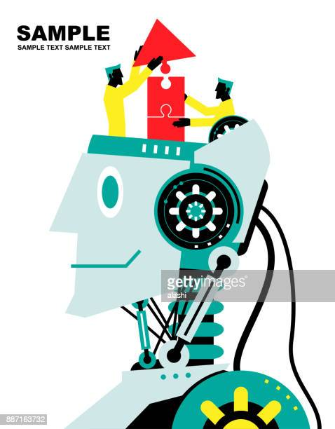 engineer finishing jigsaw puzzle (up arrow) on robot head, side view, deep learning, artificial intelligence to benefit people and society - deep learning stock illustrations