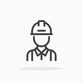 Engineer icon in line style.