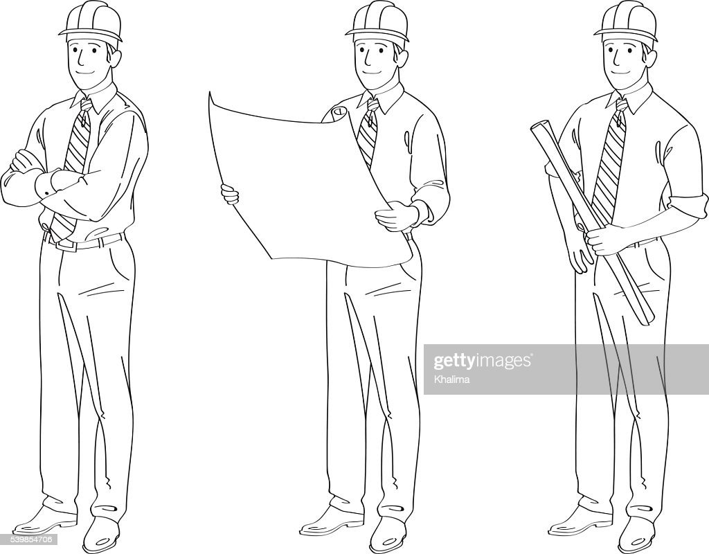 Engineer Line Drawing Illustration