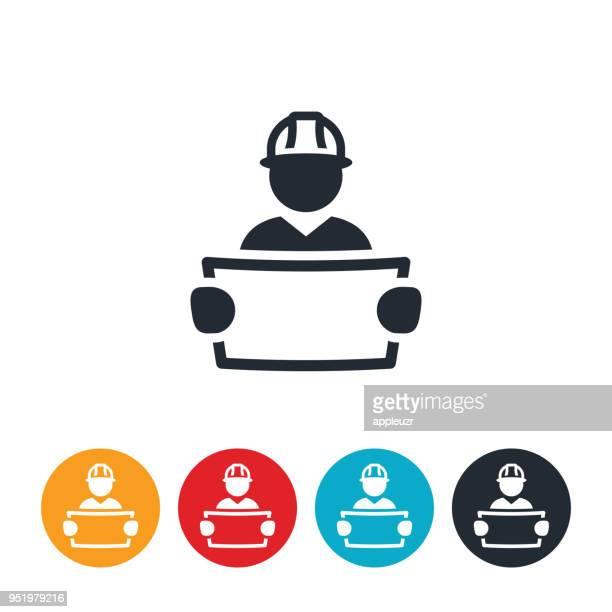 ilustraciones, imágenes clip art, dibujos animados e iconos de stock de ingeniero revisar planos icono - ingeniero civil