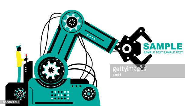 Engineer (Businessman) using joystick to operate robotic arm, side view, Partnership, Artificial intelligence to benefit people and society