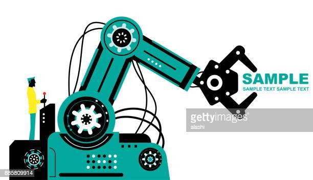 ジョイスティックを使用してロボット アーム、サイドビュー、パートナーシップ、人と社会の利益のための人工知能を操作するエンジニア (実業家) - 機械アーム点のイラスト素材/クリップアート素材/マンガ素材/アイコン素材