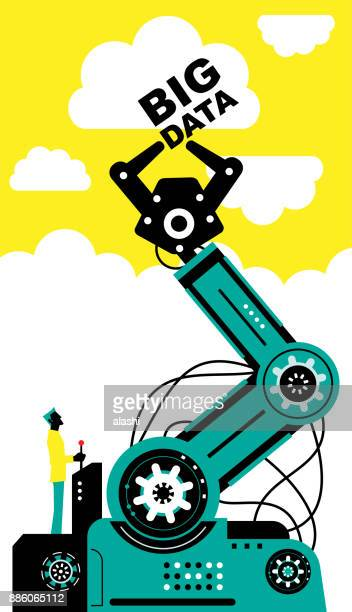 Engineer (Businessman) using joystick to operate robotic arm to catch big data, side view, Artificial intelligence to benefit people and society
