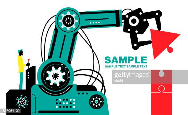 Engineer (Businessman) using joystick to operate robotic arm to finish jigsaw puzzle (up arrow), side view, Partnership, Artificial intelligence to benefit people and society