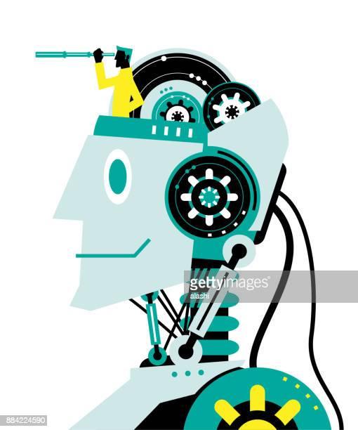 illustrazioni stock, clip art, cartoni animati e icone di tendenza di ingegnere (uomo d'affari) con telescopio gestato sulla testa del robot, vista laterale, partnership, intelligenza artificiale a beneficio delle persone e della società - scoprire nuovi terreni