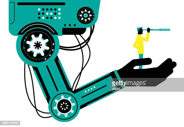 Engineer (Businessman) with hand-held telescope on robotic arm, side view, Partnership, Artificial intelligence to benefit people and society