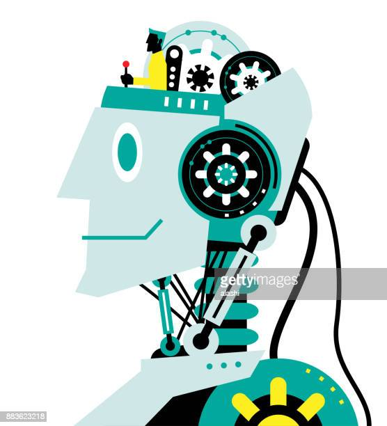 engineer with joystick on robot head, side view, partnership, artificial intelligence to benefit people and society - assistant stock illustrations, clip art, cartoons, & icons