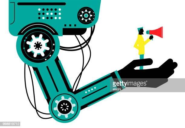 ilustraciones, imágenes clip art, dibujos animados e iconos de stock de ingeniero (empresario) con megáfono en el brazo robótico, vista lateral, colaboración, inteligencia artificial para beneficiar a la gente y sociedad - herramientas industriales