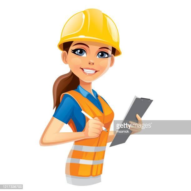 ilustraciones, imágenes clip art, dibujos animados e iconos de stock de mujer ingeniera - ingeniero civil