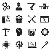 Engineering And Manufacturing Icons. Black Flat Design. Vector Illustration.
