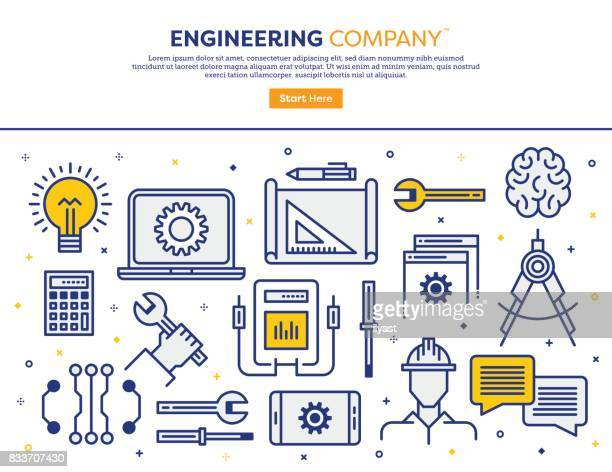 engineering company concept - engineer stock illustrations