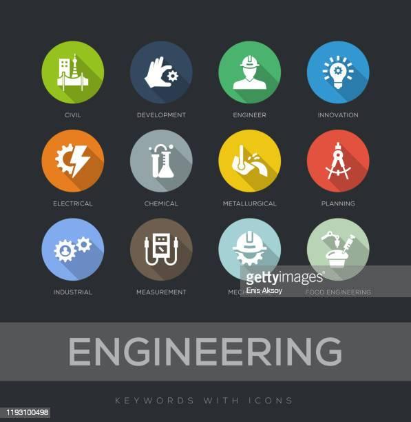 illustrazioni stock, clip art, cartoni animati e icone di tendenza di set di icone progettazione piatta ingegneristica - ingegneria