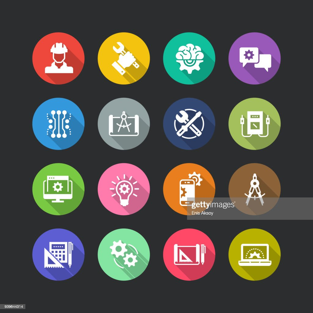 Engineering Flat Icon Set : stock illustration