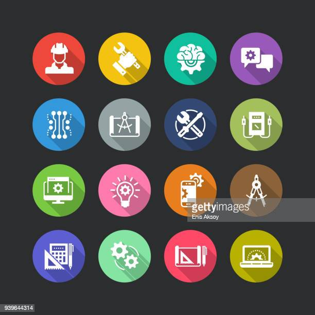 engineering flat icon set - occupational safety and health stock illustrations, clip art, cartoons, & icons