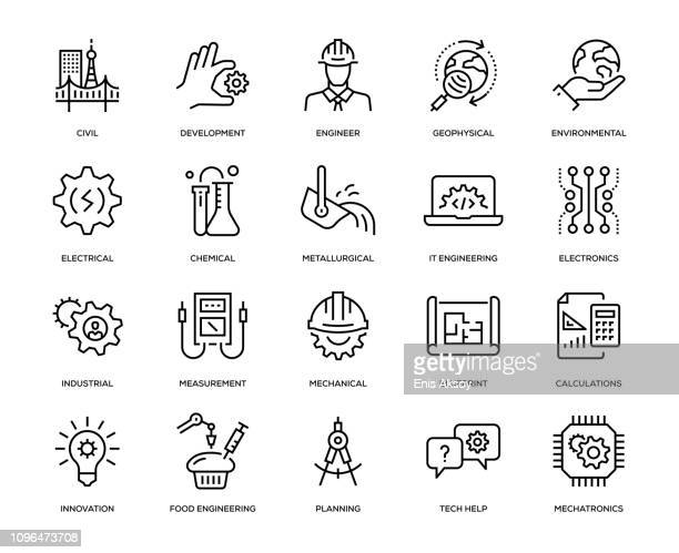 engineering icon set - engineering stock illustrations