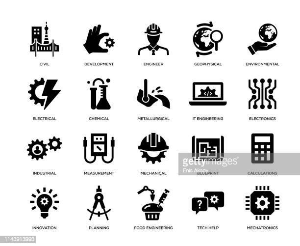ilustraciones, imágenes clip art, dibujos animados e iconos de stock de conjunto de iconos de ingeniería - ingeniero civil