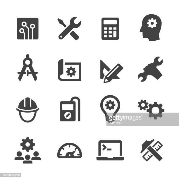 stockillustraties, clipart, cartoons en iconen met engineering icons - acme serie - rekenmachine