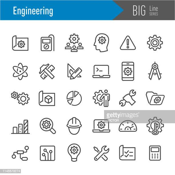 engineering icons - big line series - engineer stock illustrations