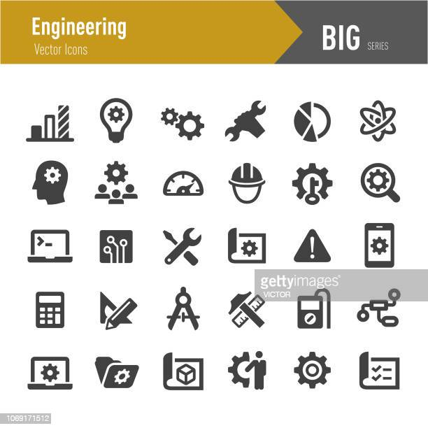 engineering icons - big series - work tool stock illustrations