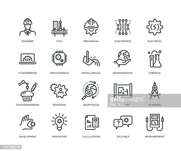 engineering icons - line series - engineering stock illustrations