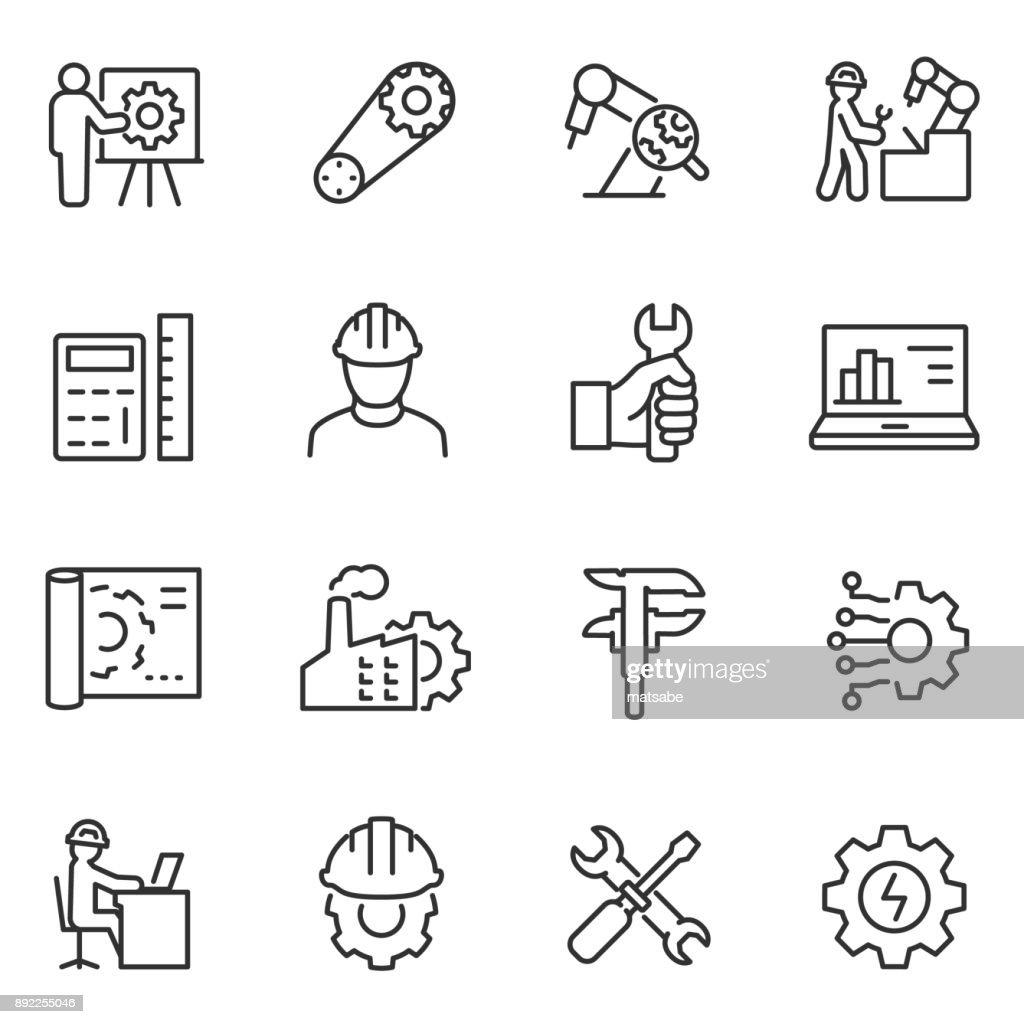 Engineering icons set. Engineer. Line with editable stroke