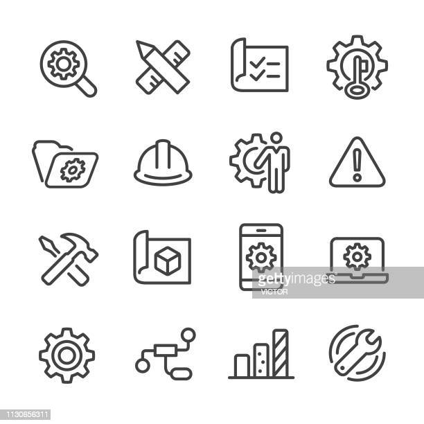 illustrazioni stock, clip art, cartoni animati e icone di tendenza di set icone ingegneristiche - serie line - supporto tecnico