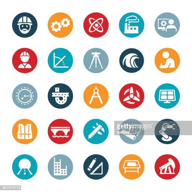engineering icons - occupational safety and health stock illustrations, clip art, cartoons, & icons