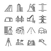 Engineering line icon set. Included the icons as building, dam, industrial, silo, power plant, estate and more.