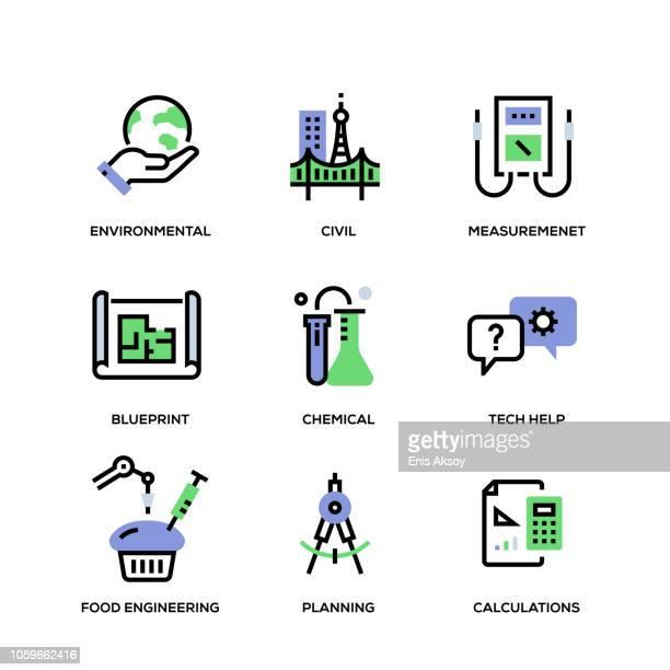 ilustraciones, imágenes clip art, dibujos animados e iconos de stock de conjunto de iconos de línea ingeniería - ingeniero civil